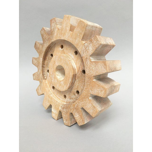 Industrial Rustic Modern Whitewashed Wood Cog Sculpture For Sale - Image 4 of 10