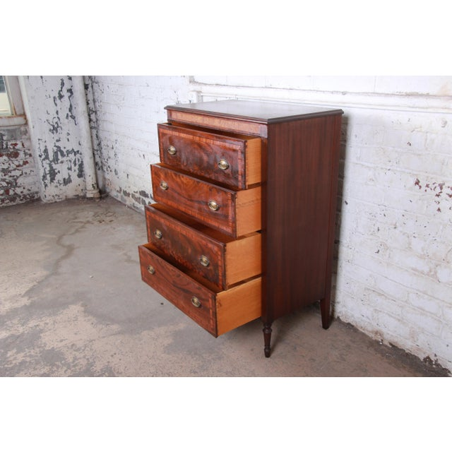 Early John Widdicomb Flame Mahogany Highboy Dresser, Circa 1920s For Sale - Image 9 of 13