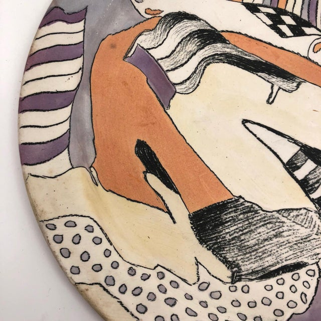 Late 20th Century Vintage Abstract Hand-Painted Decorative Ceramic Platter For Sale In Boston - Image 6 of 10