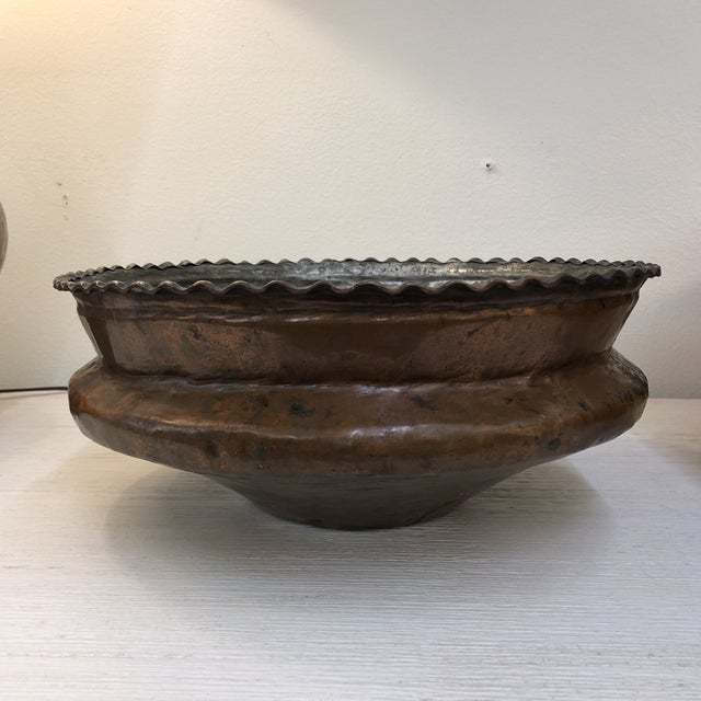 Early 20th Century Antique Hammered Copper Plated Vessel For Sale - Image 5 of 5