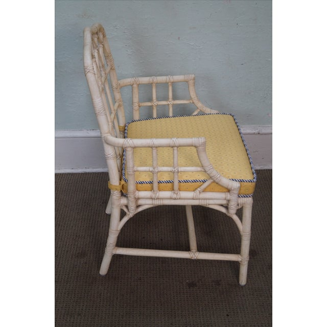 McGuire Chinese Chippendale Style Rattan Arm Chair - Image 3 of 10