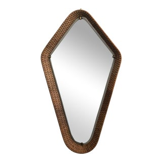 1950s Italian Cane and Brass Mirror