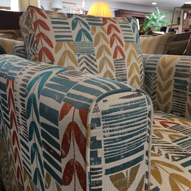 Custom Contemporary Leaf Motif Upholstered Arm Chair - Image 7 of 11
