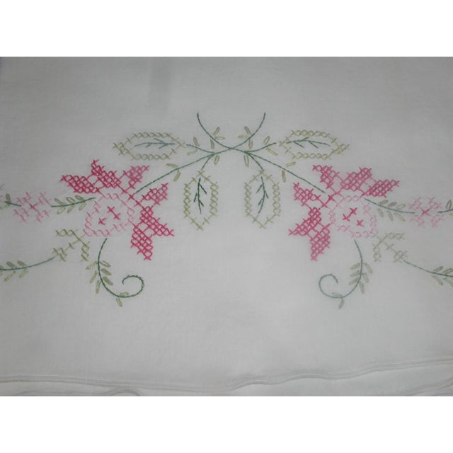 Shabby Chic 1950's Hand Embroidered Pillow Cases - A Pair For Sale - Image 3 of 9