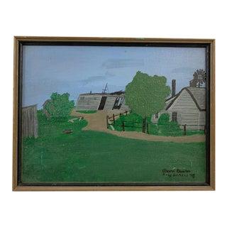 1970s Folk Art Barn Scene Acrylic Painting, Framed For Sale