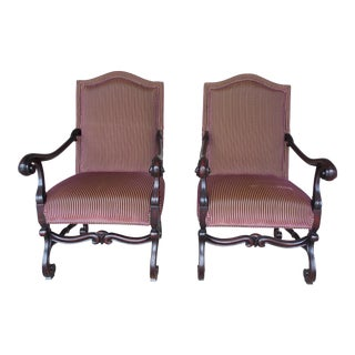 Old World Tuscan Spanish Style Arm Chairs - A Pair For Sale