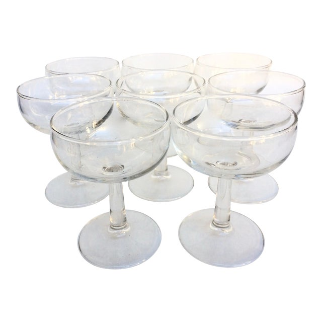 Vintage Glass Champagne Coupes - Set of 8 For Sale