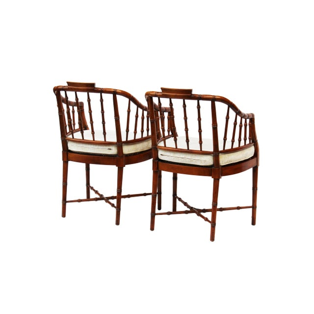 Asian Hekman Faux Bamboo Chippendale Style Armchairs - a Pair For Sale - Image 3 of 10