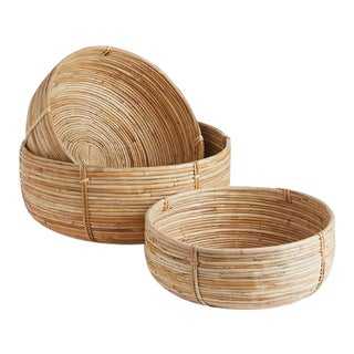 Cane Rattan Low Baskets from Kenneth Ludwig Chicago - Set of 3 For Sale