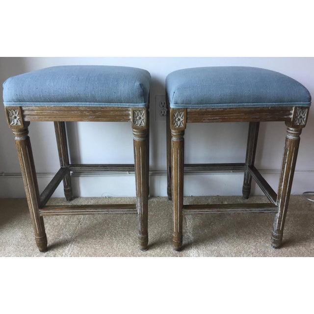 2010s 2 Carved French Linen Upholstered Stools For Sale - Image 5 of 10