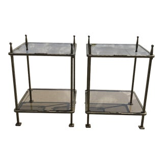 Italian Claudio Rayes Bronzed Iron Two Tiered Tables - a Pair For Sale