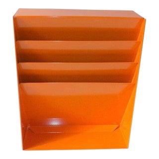 Orange Metal Desk Organizer / File Album Holder For Sale