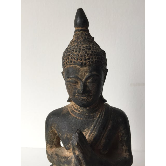 Asian Vintage Iron Seated Buddha Sculpture For Sale - Image 3 of 11