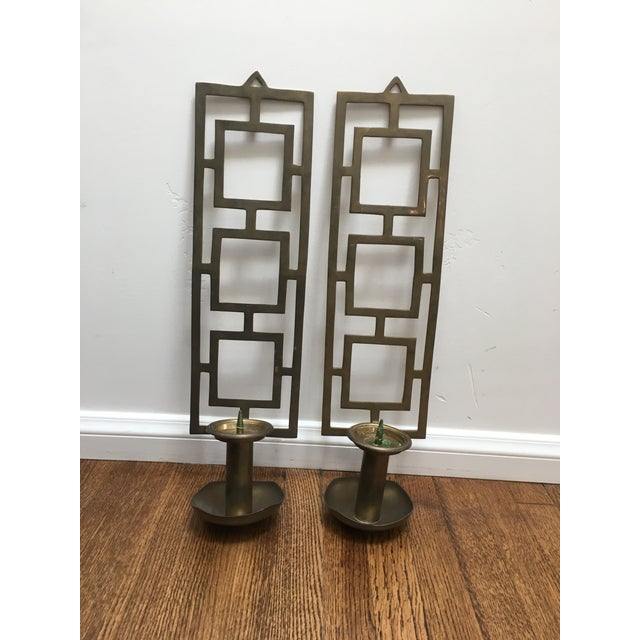 Great pair of wall candle holders in brass, they are unlaquered so dulled a bit but can be polished up nicely. Great...