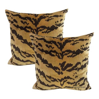 Silk Velvet Tiger Down Feather Accent Pillows - Set of 2 For Sale