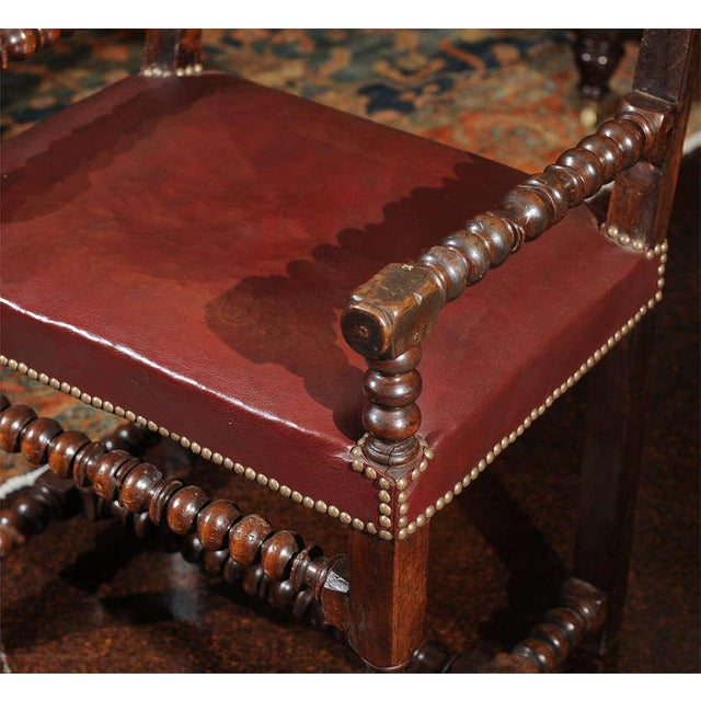 Wood Bobbin Turned Walnut Armchair with Red Leather Upholstery For Sale - Image 7 of 9