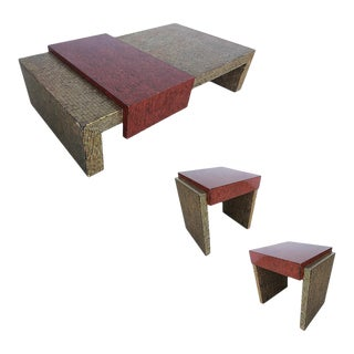 Two-Tone Cubist Style Side Table and Coffee Table Set - Set of 3 For Sale