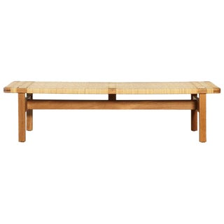 Oak and Cane / Rattan Borge Mogensen Bench, Made by Fredericia, Denmark, 1960s For Sale