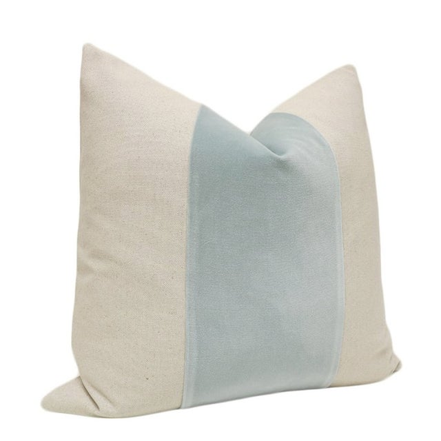 "22"" Spa Blue Velvet Panel and Linen Pillows - a Pair - Image 3 of 4"