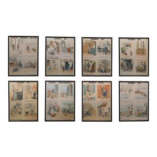 1950s French Teaching Posters for Accident Prevention by Les Fils D'Emile Deyrolle, Paris - Set of 8 For Sale