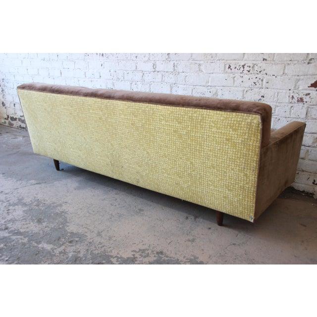 Baker Furniture Mid-Century Tufted Brown Velvet Sofa For Sale - Image 9 of 12