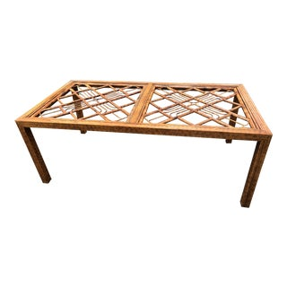 Vintage Brighton Style Burnt Bamboo Rattan Chinese Chippendale Dining Table For Sale