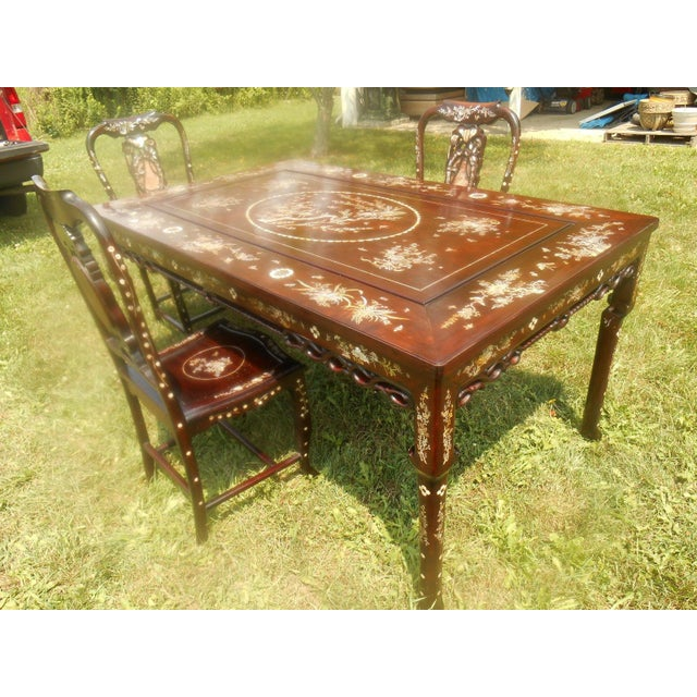 Mother of Pearl Inlay Asian Dining Set - Image 8 of 11