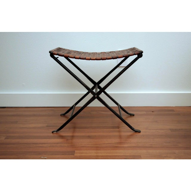 1960s Leather and Iron Folding X-Base Ottoman / Stool For Sale - Image 5 of 12