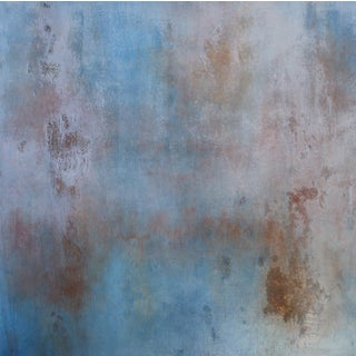 """Sequoia"" Textured Abstract Painting Wood Panel Blue Brick Red Rustic Modern Art"