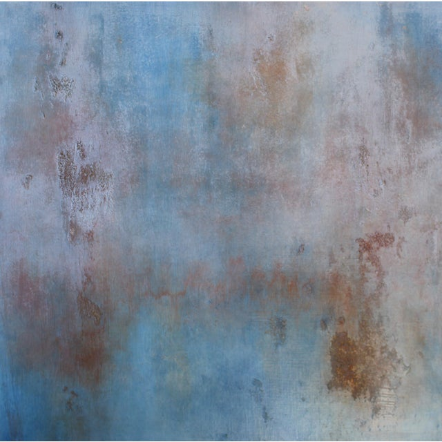 """Sequoia"" Textured Abstract Painting Wood Panel Blue Brick Red Rustic Modern Art - Image 1 of 3"