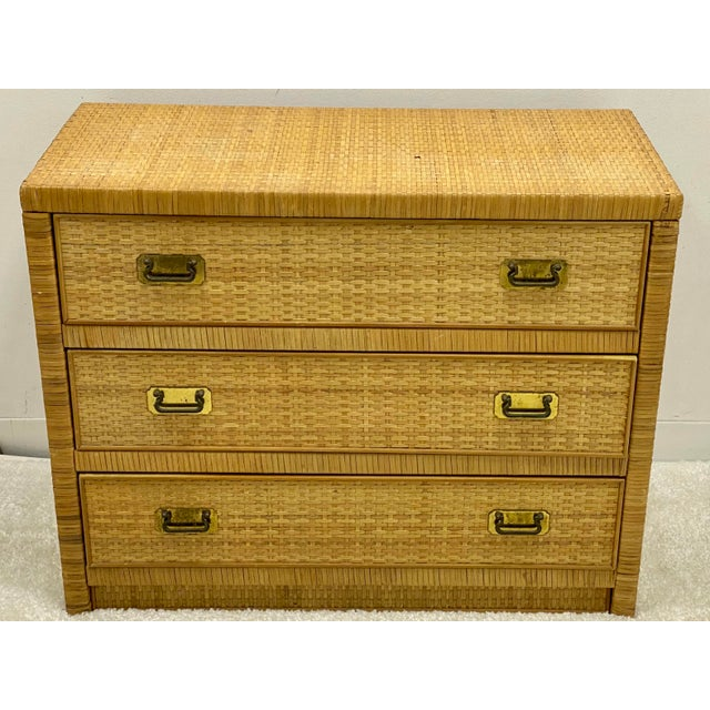 Mid 20th Century Bilecky Brothers Style Wicker Wrapped Chest For Sale - Image 5 of 6