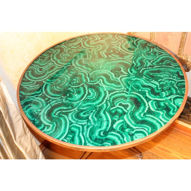 Regency 20th Century Regency Faux Painted Malachite Table For Sale - Image 3 of 7