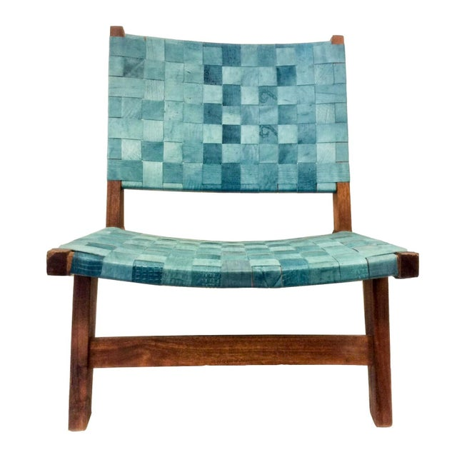 Woven Recylced Leather Lounge Chair Blue - Image 1 of 8