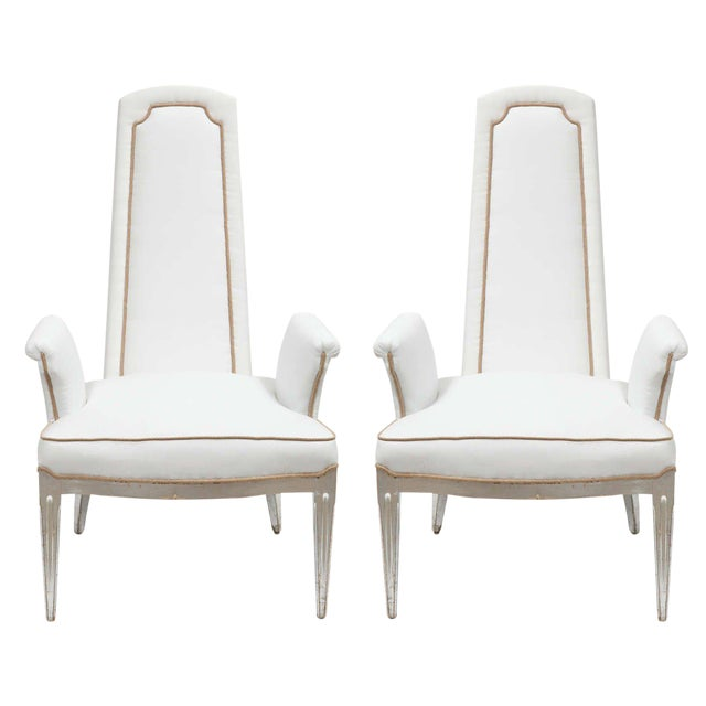 Pair of High Back Armchairs For Sale - Image 11 of 11