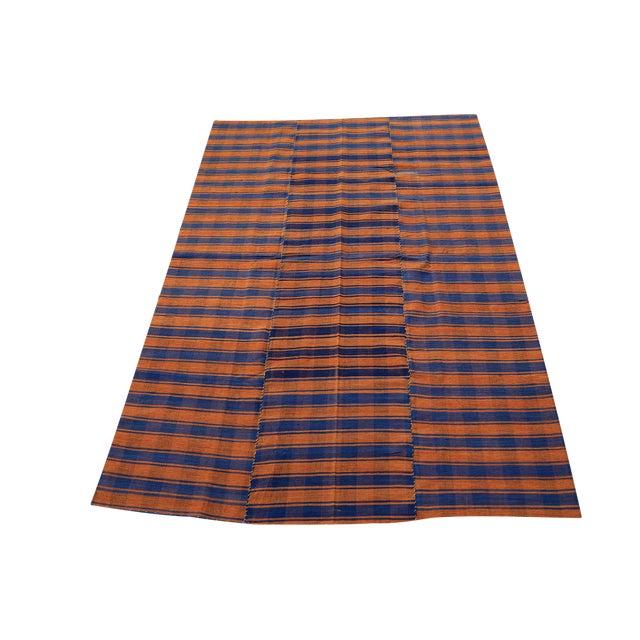 Turkish Vintage Stripes Handmade Flatweave Rug - 5′1″ × 7′7″ - Image 1 of 3
