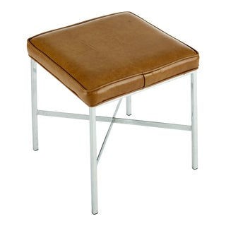 Vintage Midcentury Modern Shelby Williams Chrome and Vinyl Stool For Sale
