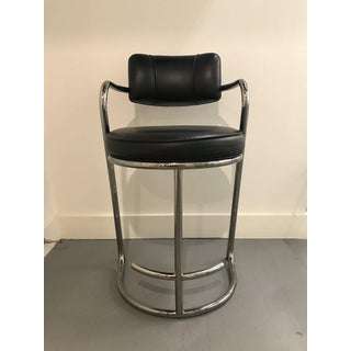 1980s Vintage Modern Black Leather Chrome Barstools-A Pair Preview