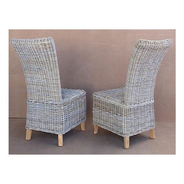 Rattan Wicker High Back Dining Chairs - Set of 6 For Sale - Image 5 of 11