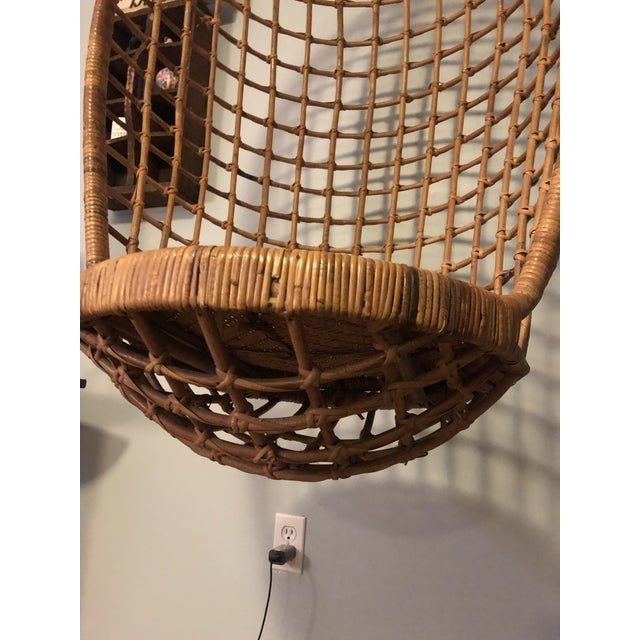 Mid 20th Century Mid-Century Ficks and Reed Style Bamboo Hanging Chair For Sale - Image 5 of 10