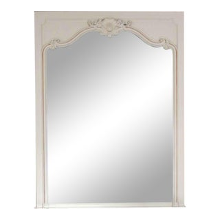 White Wooden Decorative Overmantel Mirror For Sale