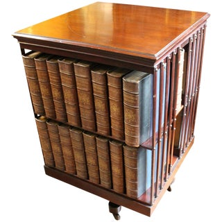 Antique Mahogany Revolving Bookcase For Sale