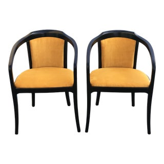 Vintage Mid Century Black Lacquer Side Chairs- A Pair For Sale