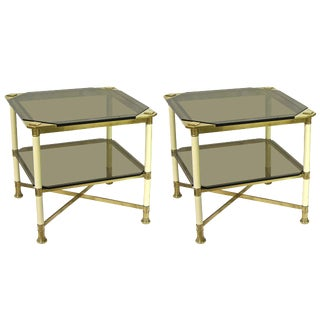 Vivai Del Sud 1970s Smoked Glass and Ivory Brass Side Tables - a Pair For Sale