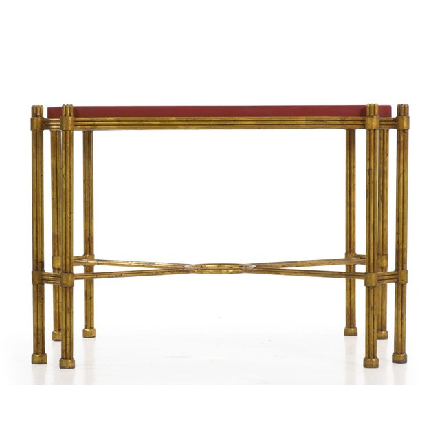 Vintage Gilt Iron Cocktail Table With Red-Painted Wooden Tray, 20th Century For Sale - Image 4 of 13