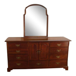 Cresent Solid Cherry Dresser With Mirror For Sale