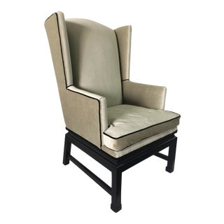Early American Sculptural Wingback Armchair For Sale