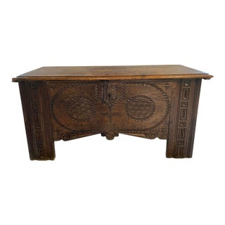 Large 17th Century Spanish Colonial Carved Oak Coffer For Sale