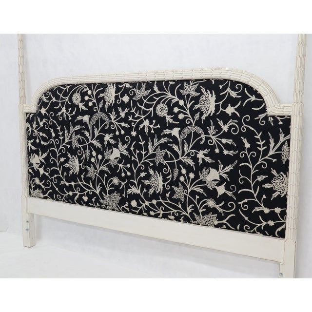 Mid 20th Century Upholstered Decorative Black and White Fabric King Size Poster Headboard For Sale - Image 5 of 12