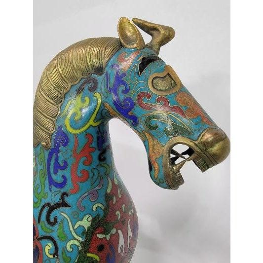 Asian Antique Chinese Cloisonne Enamel Gilt Success Horse Statue For Sale - Image 3 of 10
