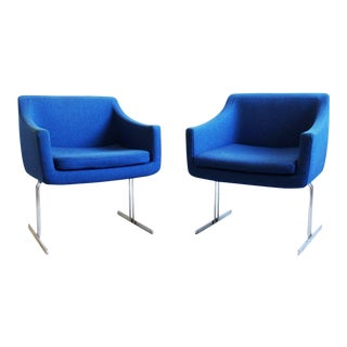 Mid-Century Modern Hugh Acton Vecta Group Blue & Chrome Lounge Chairs - a Pair For Sale